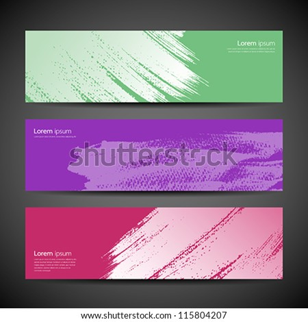 Paint brush banner colorful background set. vector illustration