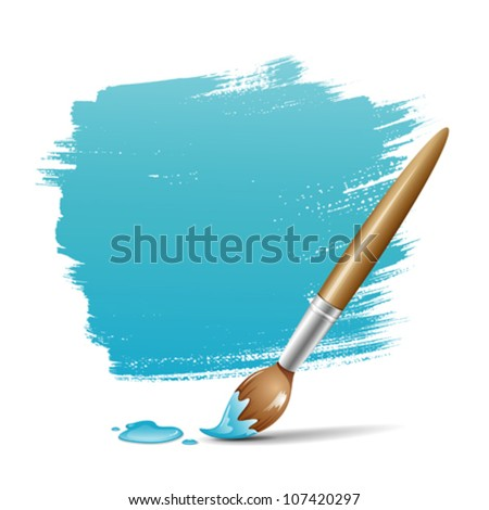 Paint brush. blue space your text design, vector illustration
