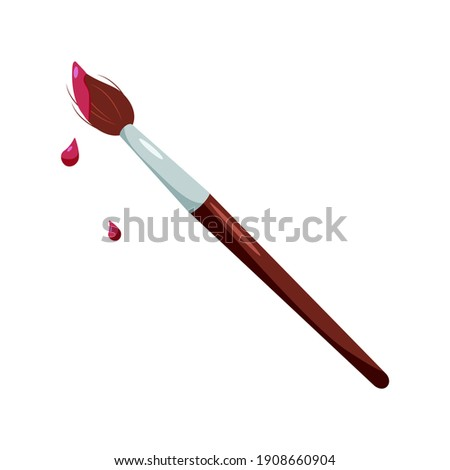 Paint brush isolated on white background. Paintbrush flat icon. Photo stock ©