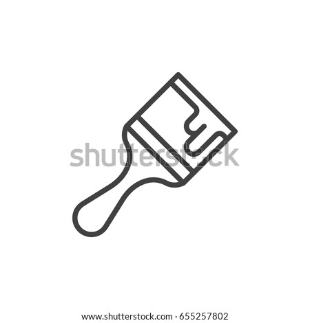 Paint brush line icon, outline vector sign, linear style pictogram isolated on white. Symbol, logo illustration. Editable stroke. Pixel perfect