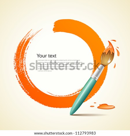 Paint brush. paint circle orange background, vector illustration