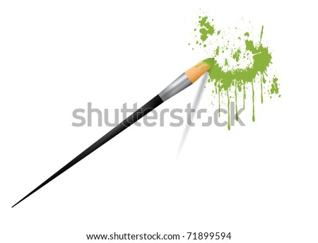 Paint brush painting stains vector illustration