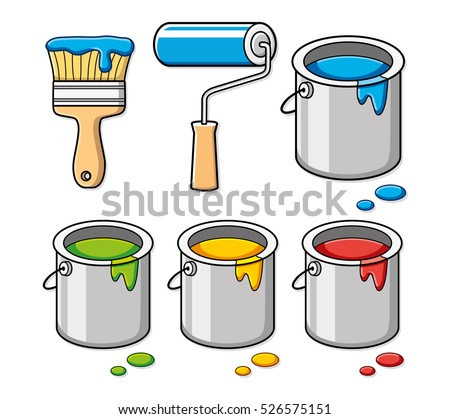 paint brush  roller and bucket
