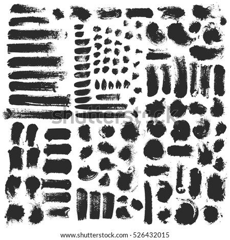 Paint brush strokes artistic decorative ink stain set. Acrylic painting vector.