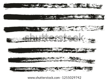 Paint Brush Thin Lines High Detail Abstract Vector Background Set 26 #1255029742