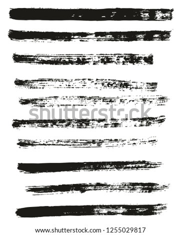 Paint Brush Thin Lines High Detail Abstract Vector Background Set 50 #1255029817