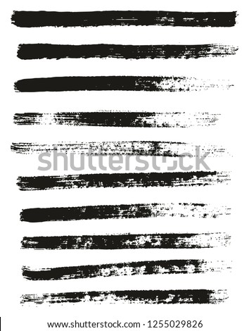 Paint Brush Thin Lines High Detail Abstract Vector Background Set 55 #1255029826