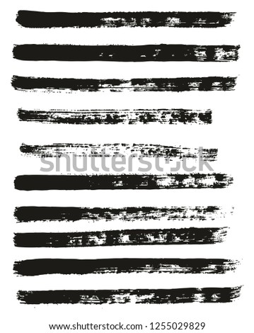 Paint Brush Thin Lines High Detail Abstract Vector Background Set 52 #1255029829