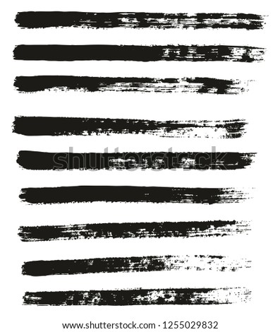 Paint Brush Thin Lines High Detail Abstract Vector Background Set 51 #1255029832