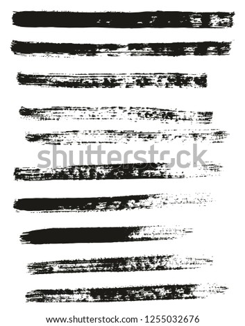 Paint Brush Thin Lines High Detail Abstract Vector Background Set 48 #1255032676