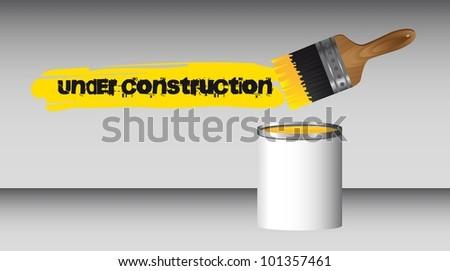 paint brush with bottle, under construction. vector illustration