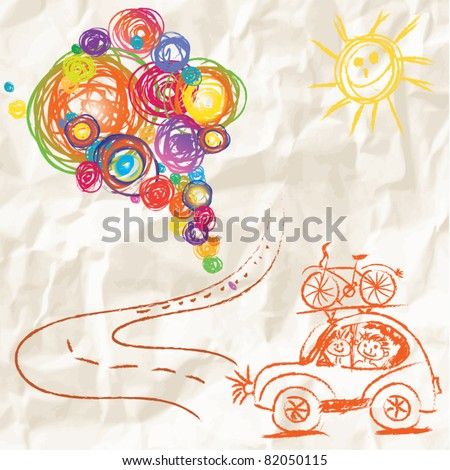 Paint brush with color lines on crumpled paper - travel creative child painting vector design