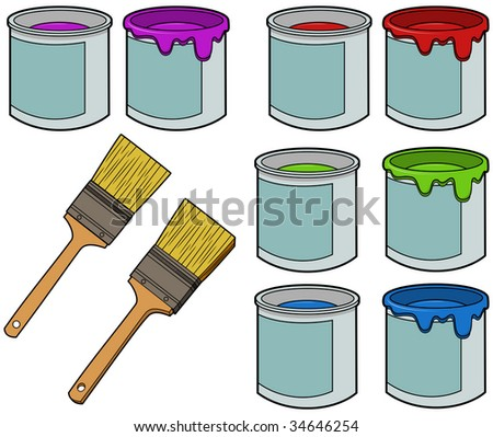 Paint Bucket Vector Paint Buckets And Brushes