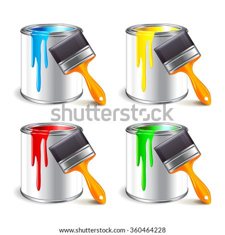 paint can and brush isolated on