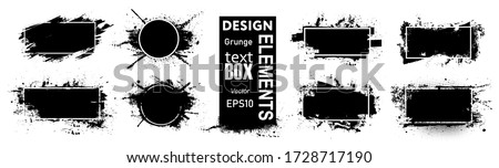 Paint compositions, grunge with frame, texting boxes. Dirty design elements, quote box speech template. Black splashes isolated on white background. Vector street art template set