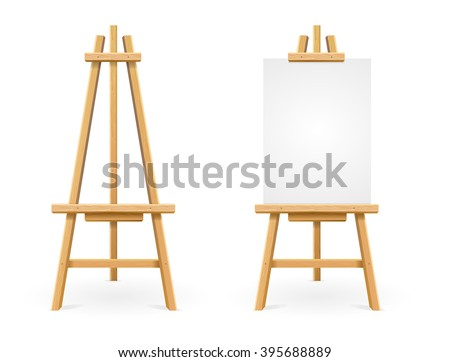 Paint Desk and White Paper Isolated On Background. Vector illustration
