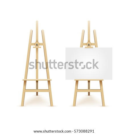 Paint desk and white paper isolated on white background. Vector illustration EPS 10.