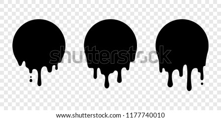 Paint drip stickers or circle labels. Vector liquid drops icons for graffiti blob stickers
