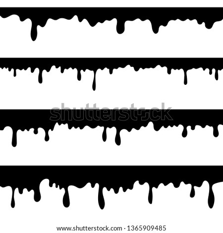 Paint dripping, black liquid or melted chocolate drips . Drip splash border, trickle leak vector illustration isolated on white background. Design element for advertising, product packing, sales