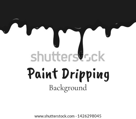 Paint dripping, black liquid or melted chocolate drips. Drip splash border, trickle leak vector illustration isolated on white background. Design element for advertising, product packing, sales