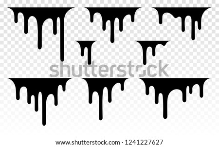 Paint dripping. Dripping liquid. Paint flows. Current paint, stains. Current drops. Current inks. Vector illustration. Color easy to edit. Transparent background.