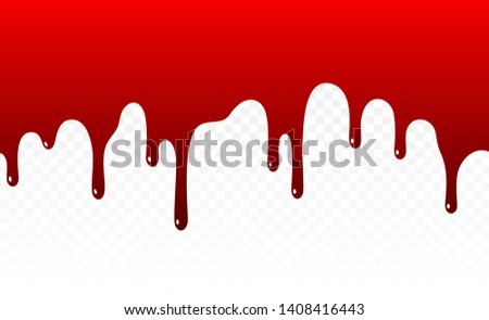 Paint dripping. Dripping liquid. Paint flows. Current paint, stains. Current drops. Dripping blood. Seamless pattern. Current inks. Vector illustration. Color easy to edit. Transparent background.