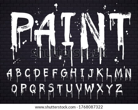 Paint dripping paint font for latin alphabet isolated on dark background with bricks. White oil english letters. Wet painted abc sign text with splatters, calligraphy concept vector illustration Сток-фото ©