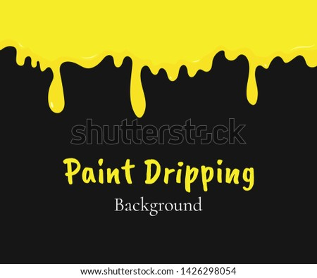 Paint dripping, yellow liquid or melted cream drips. Drip splash border, trickle leak vector illustration isolated on black background. Design element for advertising, product packing, sales