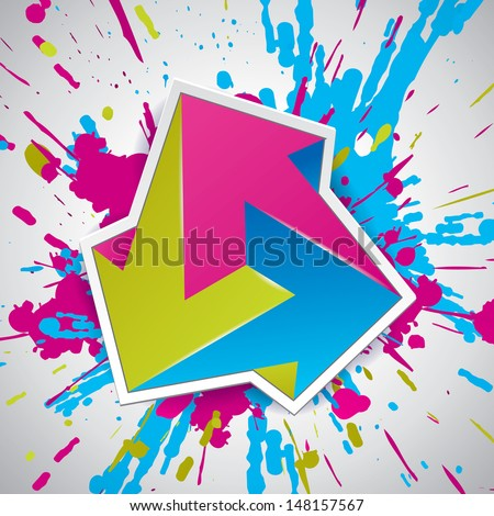 Paint explosion, impossible figure, impossible object, Impossible arrows, 3 arrows, abstract vector