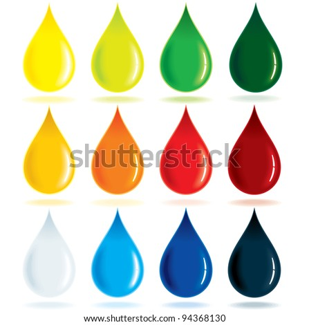Paint Ink Drops, vector illustration
