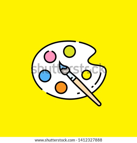 Paint palette line icon. Paintbrush and artist color palette graphic isolated on yellow background. Vector illustration.