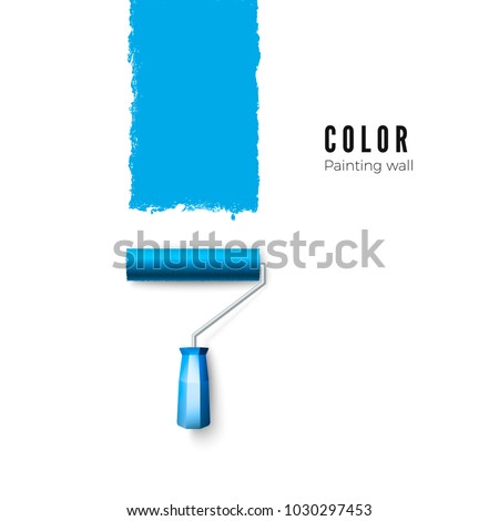 Paint roller brush. Blue paint texture when painting with a roller. Vector illustration isolated on white background
