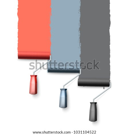 Paint roller brush. Colorful paint texture when painting with a roller. Three rollers paint the wall one by one. Vector illustration isolated on white background