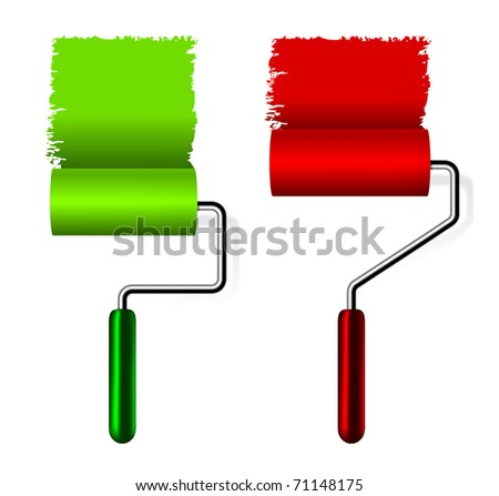 paint roller brush with paint on white background