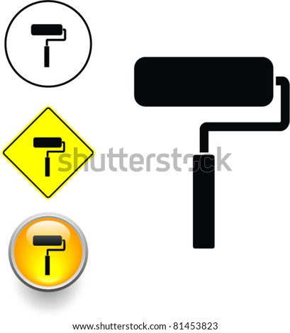 paint roller symbol sign and button