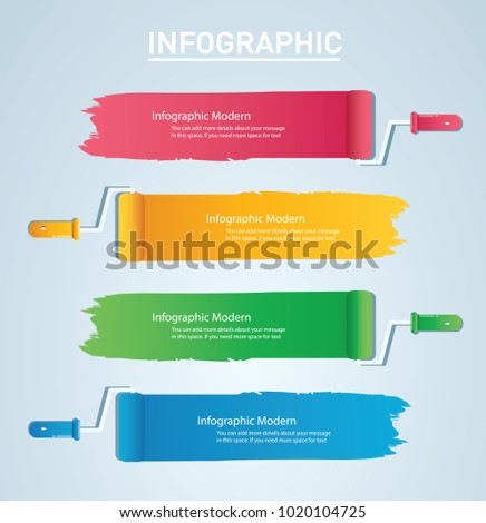 paint roller with space for text info graphic Vector template with 4 options. Can be used for web, diagram, graph, presentation, chart, report, step by step infographics.