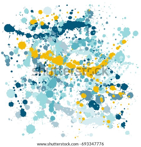Paint splashes vector background. Yellow gold and aquamarine and dark blue drops and stains. Hand painted spots on white. Paint splash or splat, splattered ink, dirty blots artistic elements. Сток-фото ©