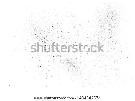 Paint splatter background. Black vector paint drops splatter. Dust overlay distress grain. Black paint splatter. Ink blots. Dust particles texture. Grunge urban backdrop. Vector illustration