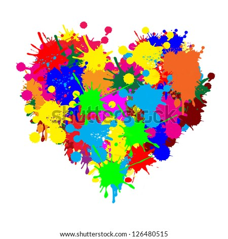 paint splatter heart on white