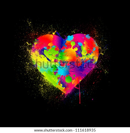 Paint splatter heart. Vector illustration - stock vector