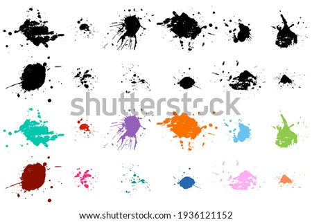 Paint stains vector set isolated on a white background.