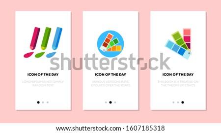 Paint swatches flat icon set. Crayons, palette, colors. Renovation, decoration, selection, art concept. Vector illustration symbol elements for web design