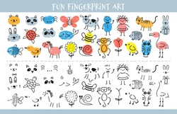 Paint with finger prints. Kids fingerprint learning art game and quiz worksheet with characters. Education drawing for children vector sheet. Preschool or nursery funny activity for painting