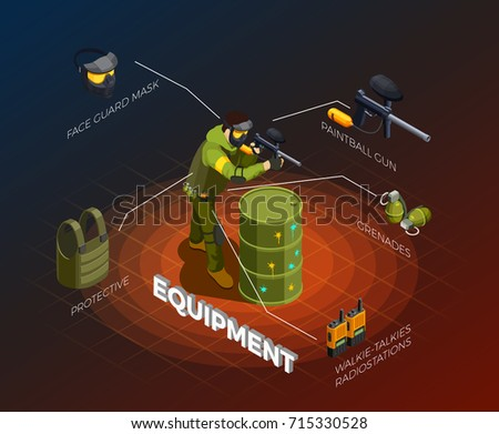 paintball isometric composition
