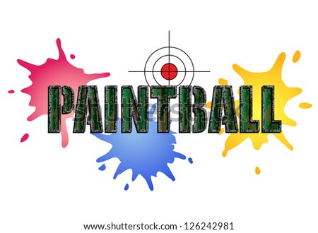 Paintball logo in camouflage style with paint smears and target