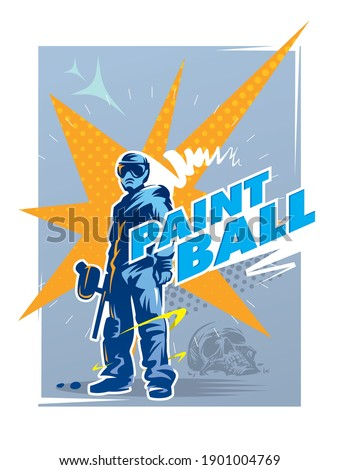 Paintball player is standing after win. Illustration for poster, sticker or banner Stock photo ©