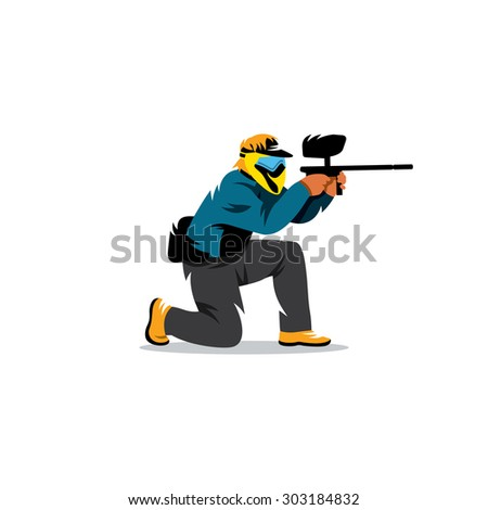 paintball player sign vector