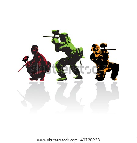 paintball players silhouettes, vector illustration