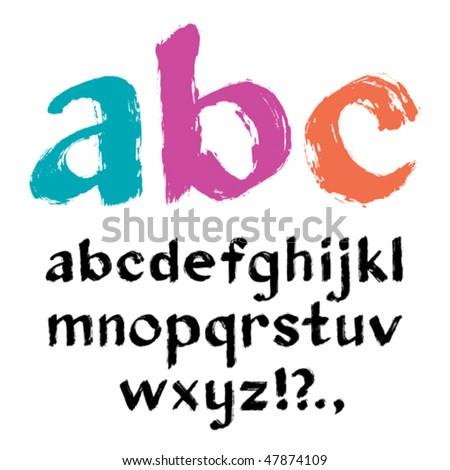 Paintbrush alphabet. Vector.