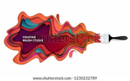 Paintbrush and colored paint brush stroke. Vector paper cut illustration. Colorful paint layers in paper craft style.
